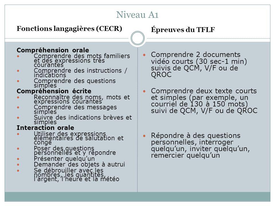 Niveau A1 Fonctions langagières (CECR)