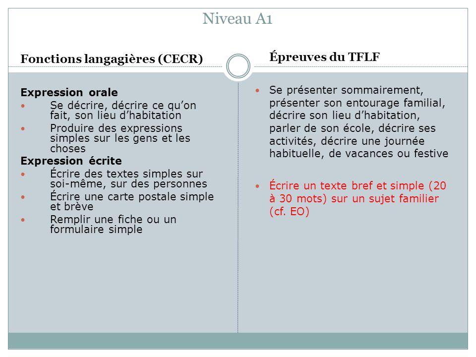 Niveau A1 Épreuves du TFLF Fonctions langagières (CECR)