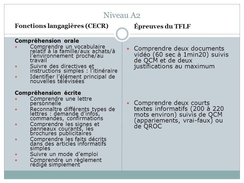 Niveau A2 Fonctions langagières (CECR)