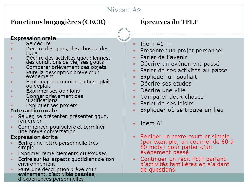 Niveau A2 Fonctions langagières (CECR) Idem A1 +