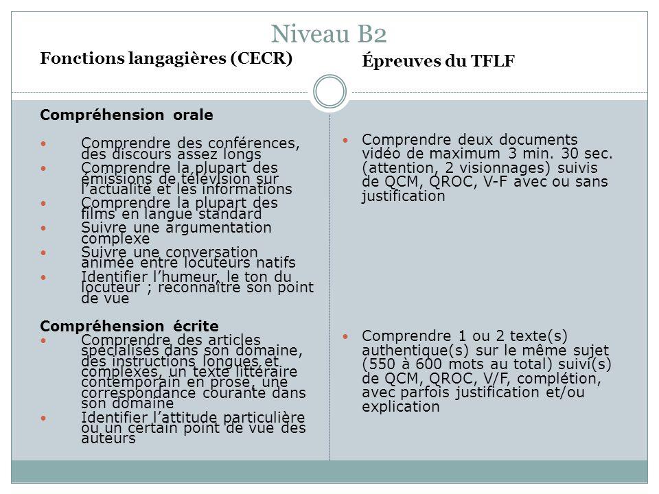 Niveau B2 Fonctions langagières (CECR) Compréhension orale