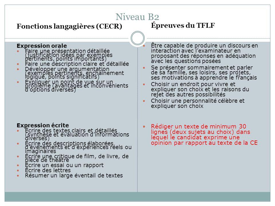 Niveau B2 Fonctions langagières (CECR)