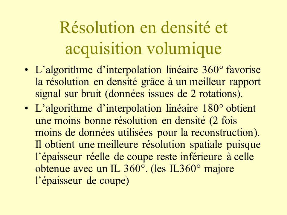 Résolution en densité et acquisition volumique