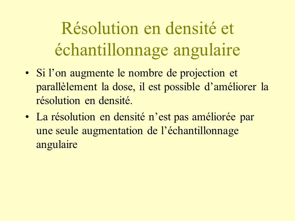 Résolution en densité et échantillonnage angulaire
