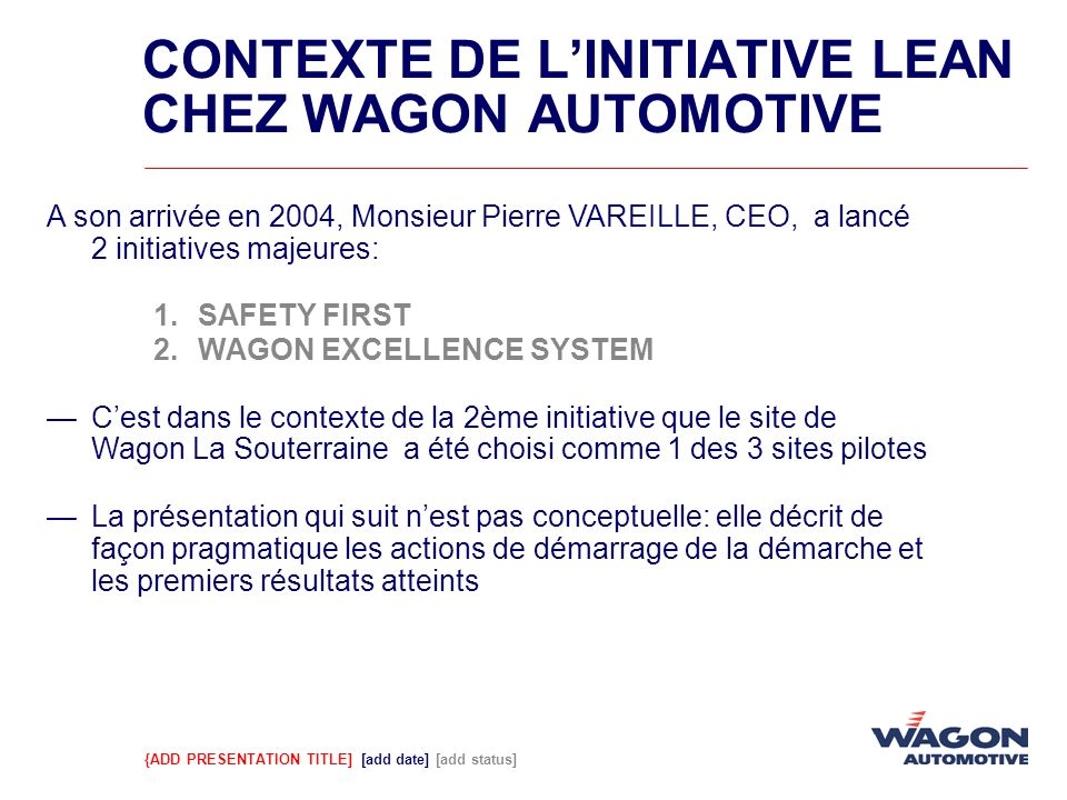CONTEXTE DE L'INITIATIVE LEAN CHEZ WAGON AUTOMOTIVE