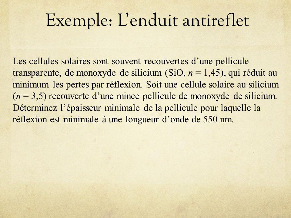 Exemple: L'enduit antireflet