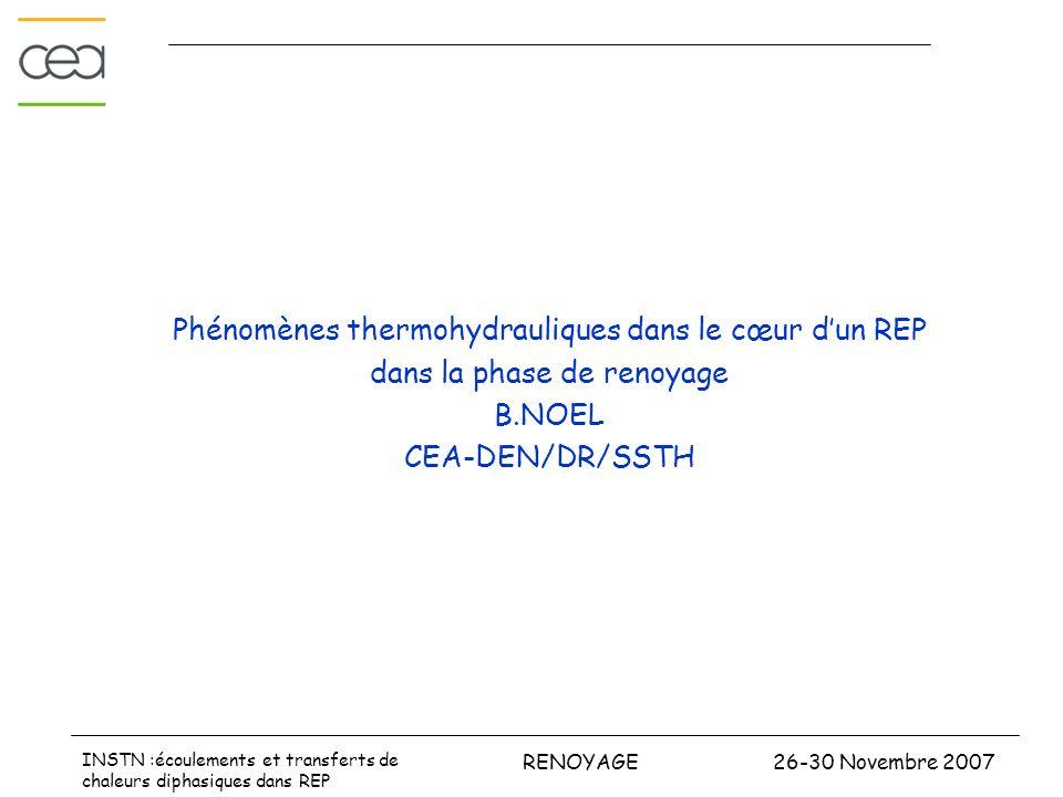 Phénomènes thermohydrauliques dans le cœur d'un REP