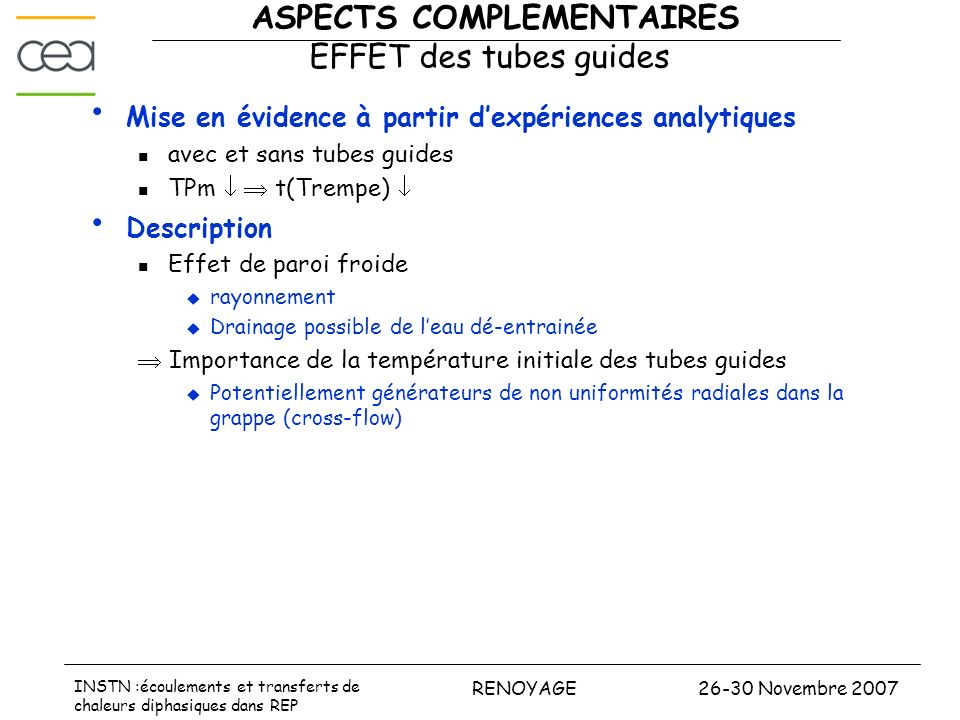 ASPECTS COMPLEMENTAIRES EFFET des tubes guides