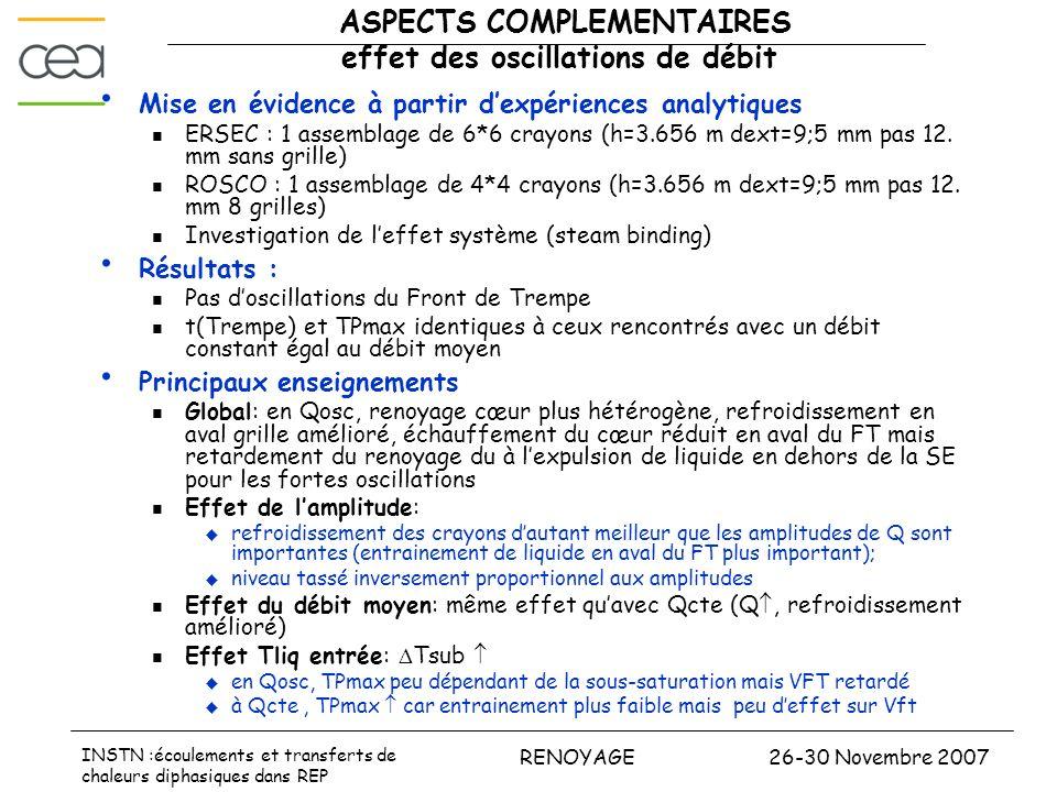 ASPECTS COMPLEMENTAIRES effet des oscillations de débit