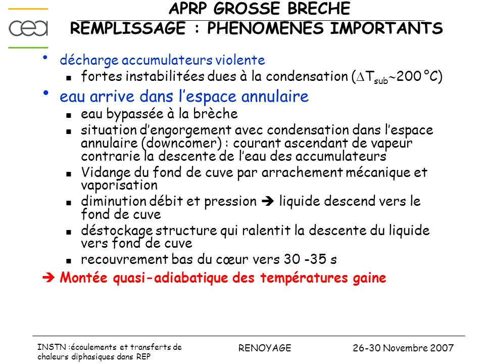 APRP GROSSE BRECHE REMPLISSAGE : PHENOMENES IMPORTANTS