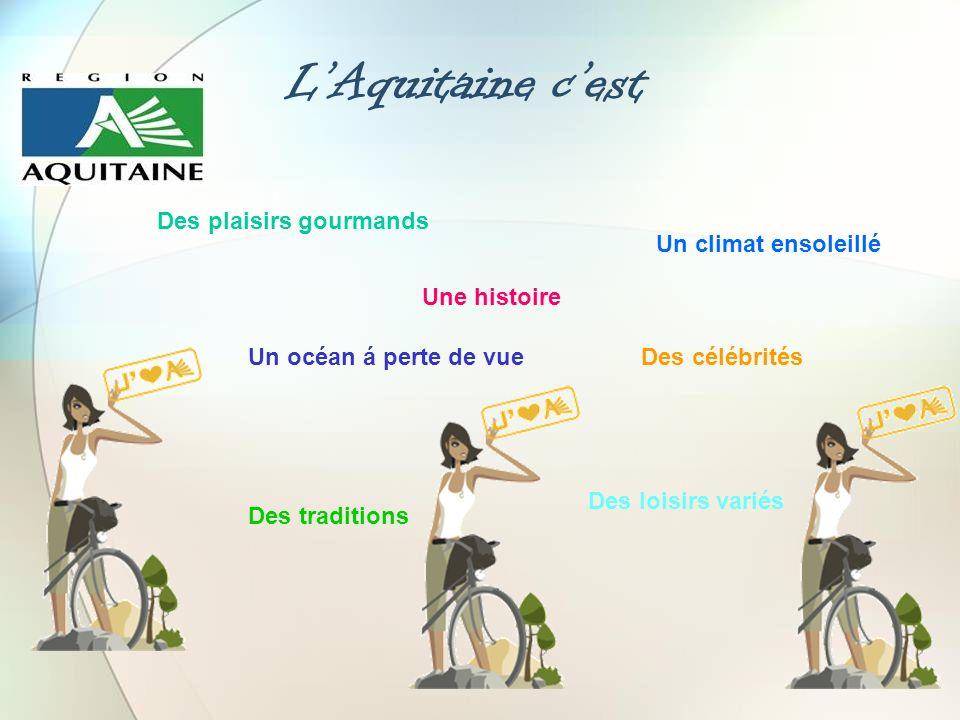L'Aquitaine c'est Des plaisirs gourmands Un climat ensoleillé