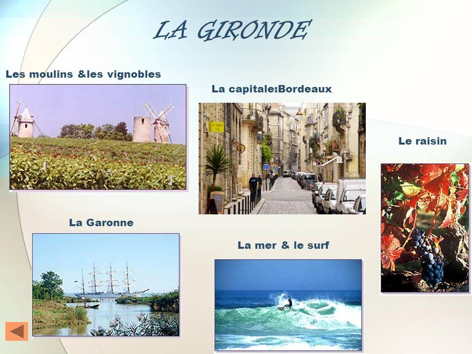 LA GIRONDE Les moulins &les vignobles La capitale:Bordeaux Le raisin
