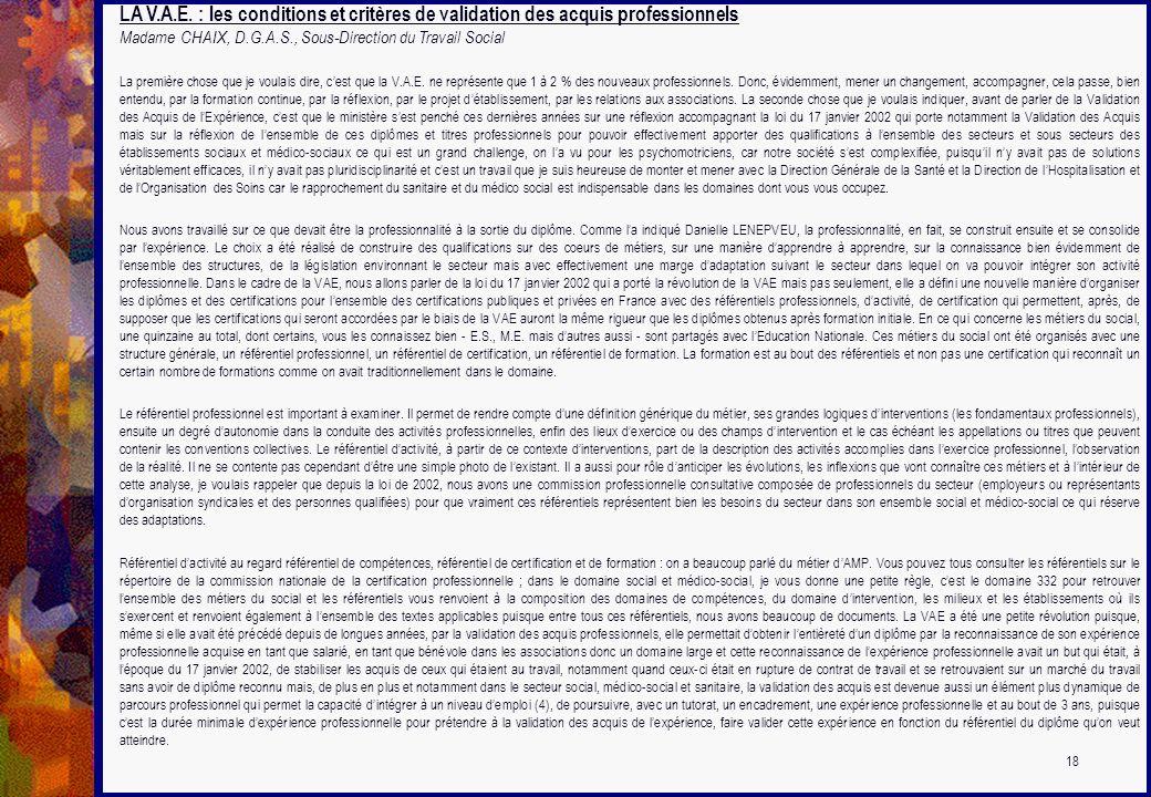 LA V.A.E. : les conditions et critères de validation des acquis professionnels