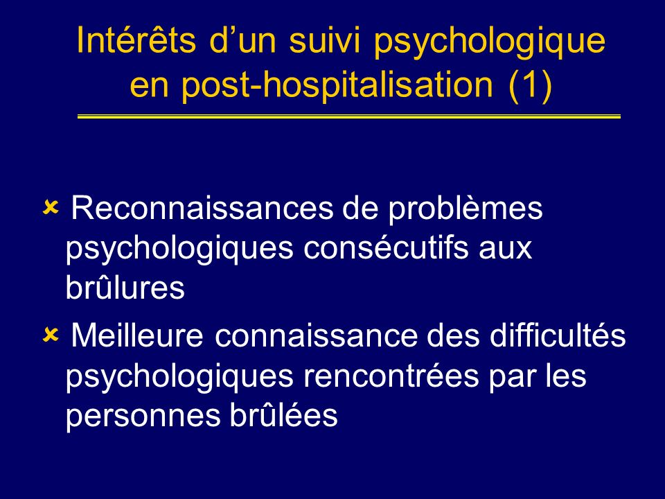 Intérêts d'un suivi psychologique en post-hospitalisation (1)