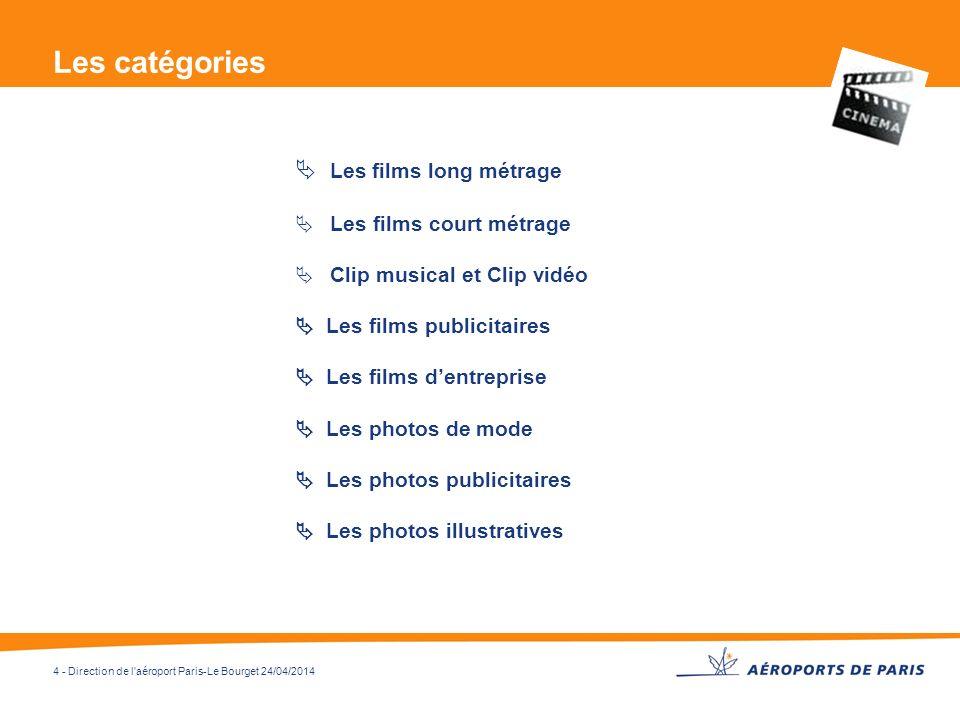 Les catégories  Les films long métrage Les films court métrage