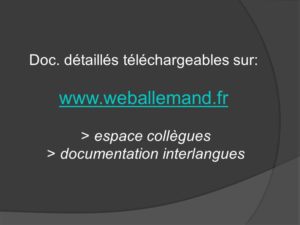 Doc. détaillés téléchargeables sur: www. weballemand