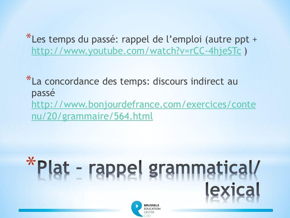 Plat – rappel grammatical/ lexical
