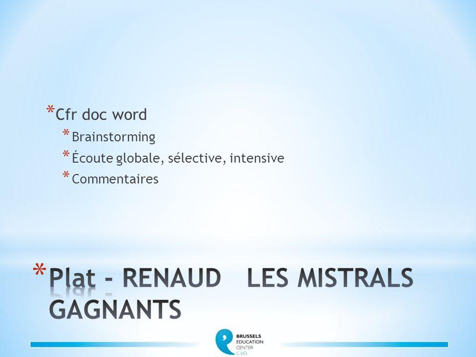 Plat - RENAUD LES MISTRALS GAGNANTS