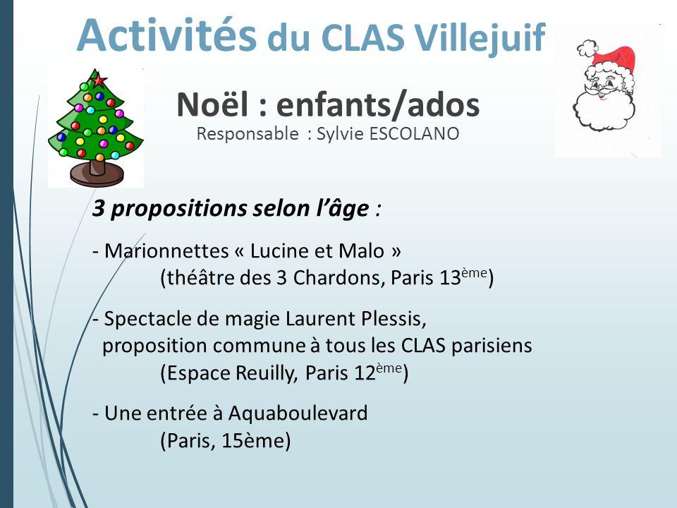 Noël : enfants/ados Responsable : Sylvie ESCOLANO