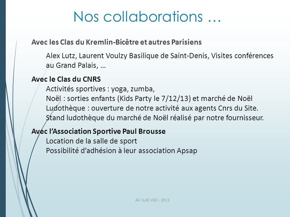 Nos collaborations …Avec les Clas du Kremlin-Bicêtre et autres Parisiens.