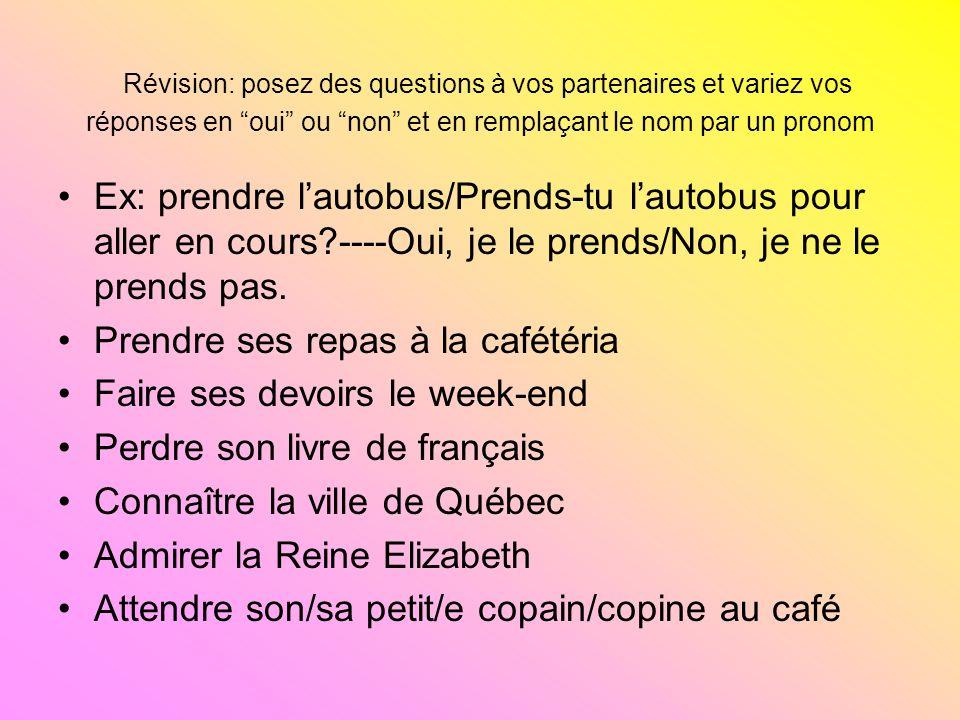Révision: posez des questions à vos partenaires et variez vos réponses en oui ou non et en remplaçant le nom par un pronom