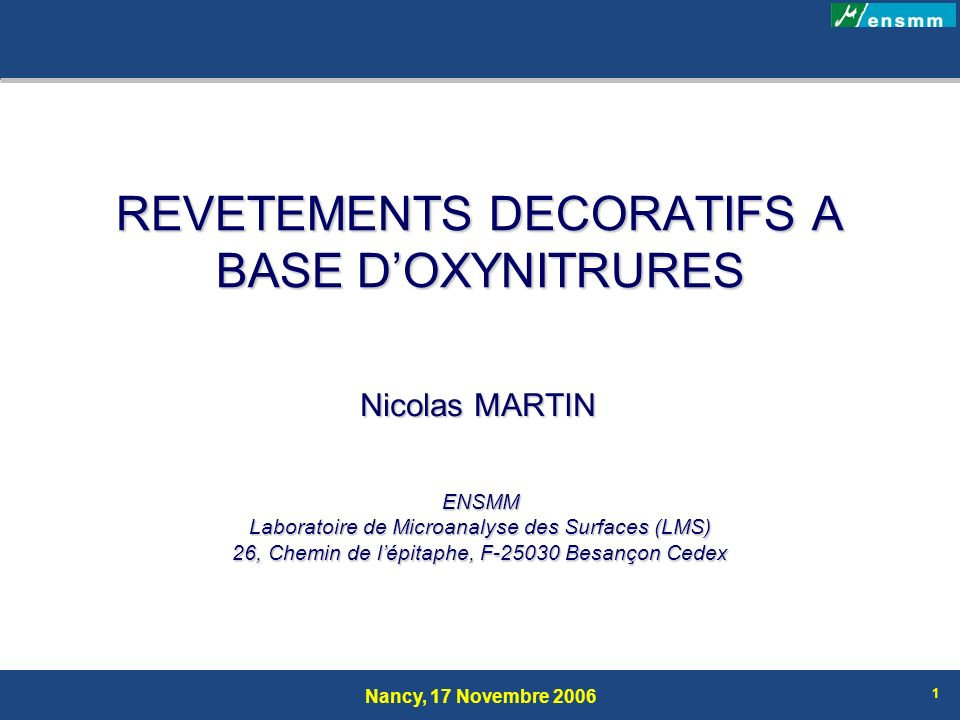 REVETEMENTS DECORATIFS A BASE D'OXYNITRURES