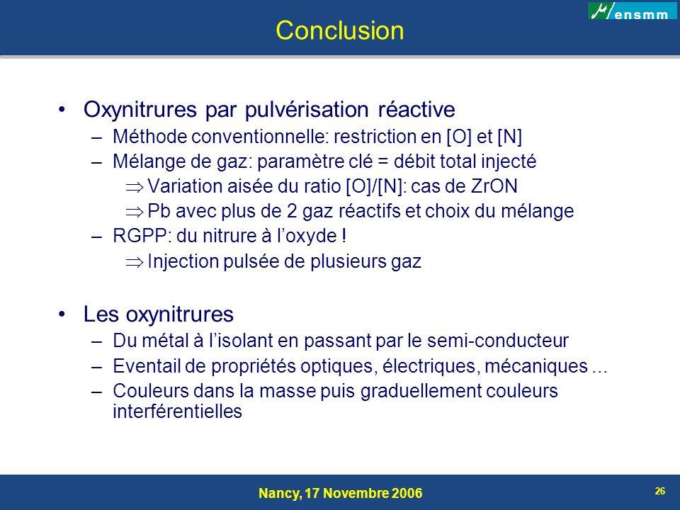 Conclusion Oxynitrures par pulvérisation réactive Les oxynitrures