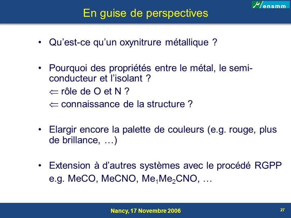 En guise de perspectives