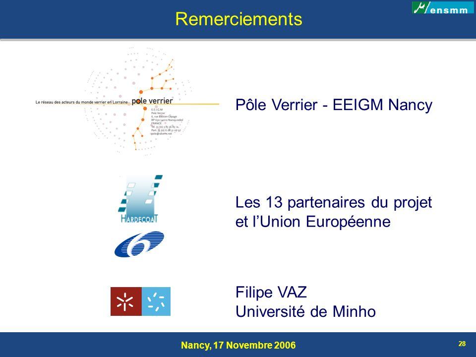 Remerciements Pôle Verrier - EEIGM Nancy