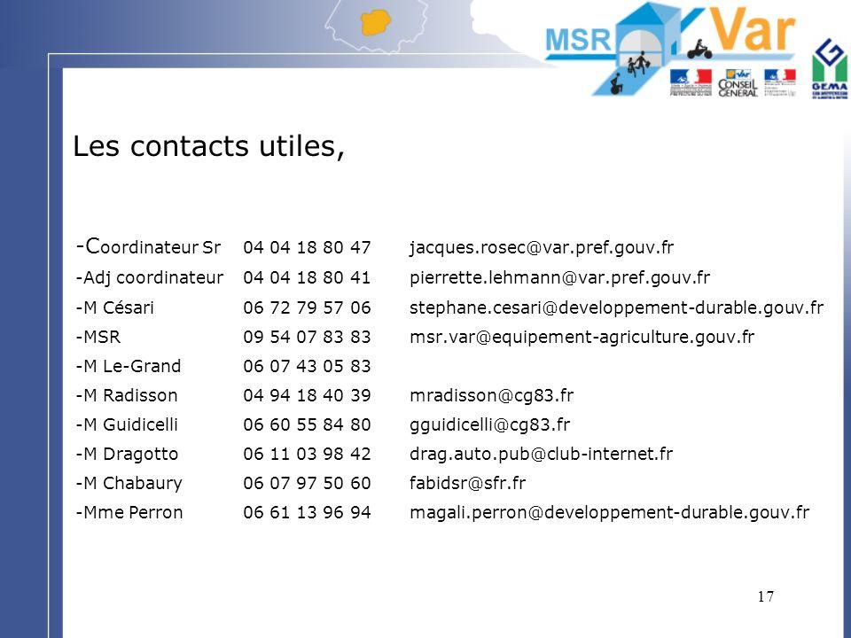 Les contacts utiles, -Coordinateur Sr 04 04 18 80 47 jacques.rosec@var.pref.gouv.fr.
