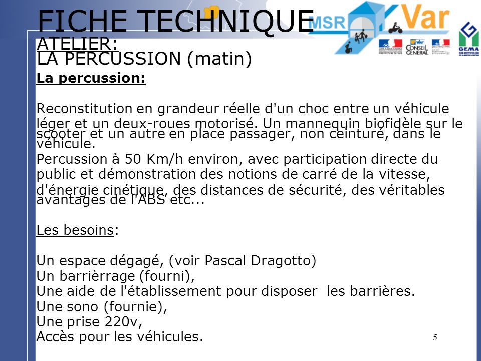 FICHE TECHNIQUE ATELIER: LA PERCUSSION (matin)