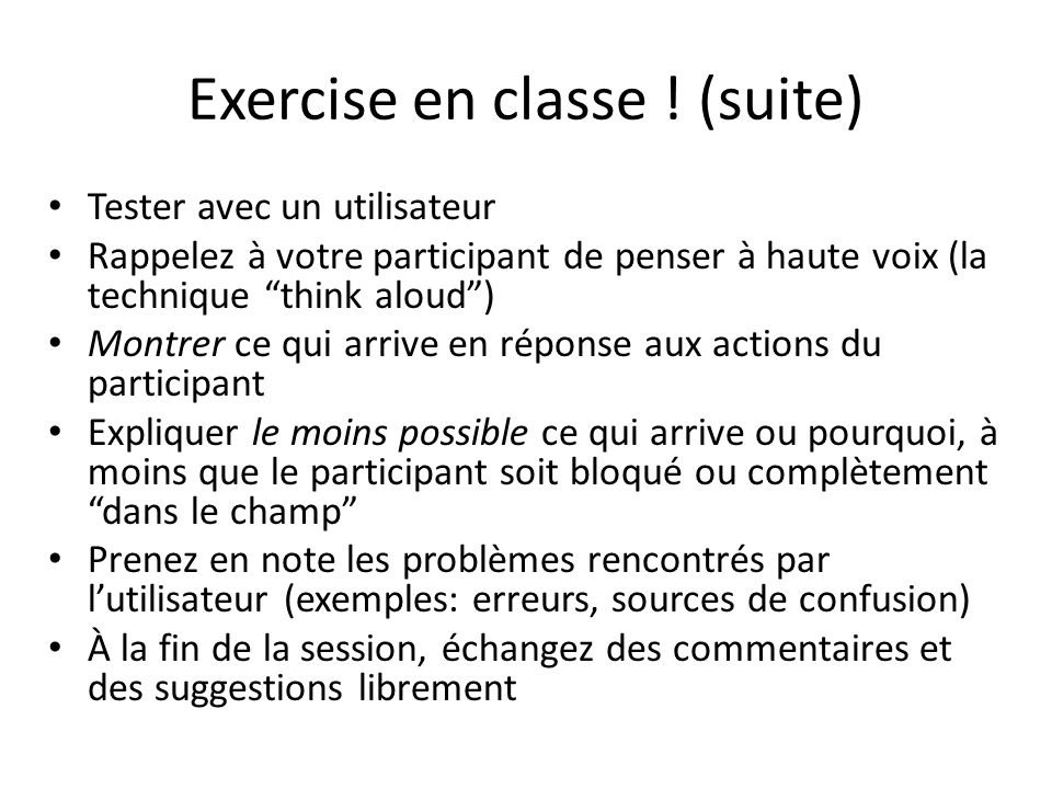 Exercise en classe ! (suite)