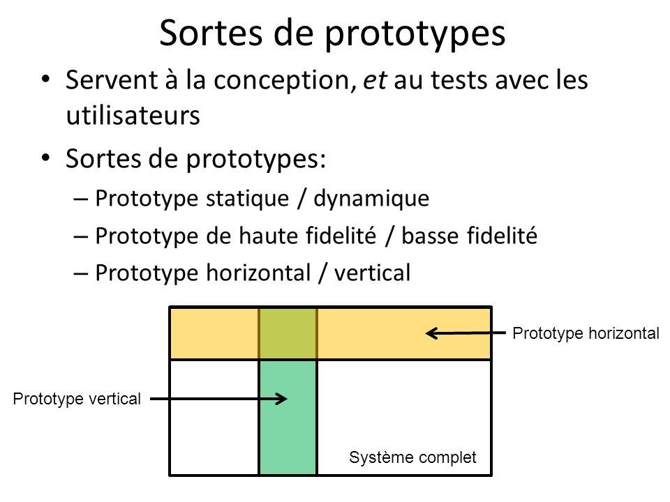Sortes de prototypes Servent à la conception, et au tests avec les utilisateurs. Sortes de prototypes: