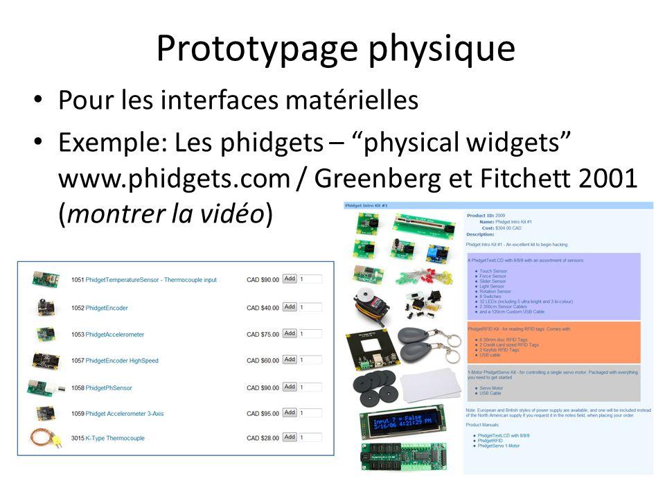Prototypage physique Pour les interfaces matérielles