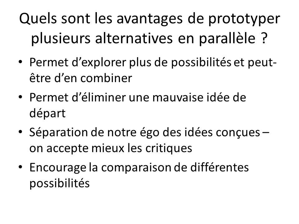 Quels sont les avantages de prototyper plusieurs alternatives en parallèle