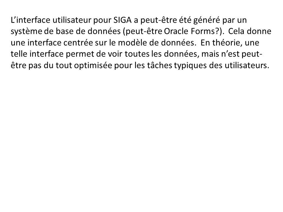 L'interface utilisateur pour SIGA a peut-être été généré par un système de base de données (peut-être Oracle Forms ).