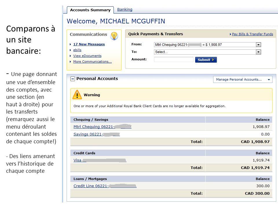 Comparons à un site bancaire: - Une page donnant une vue d'ensemble des comptes, avec une section (en haut à droite) pour les transferts (remarquez aussi le menu déroulant contenant les soldes de chaque compte!) - Des liens amenant vers l'historique de chaque compte