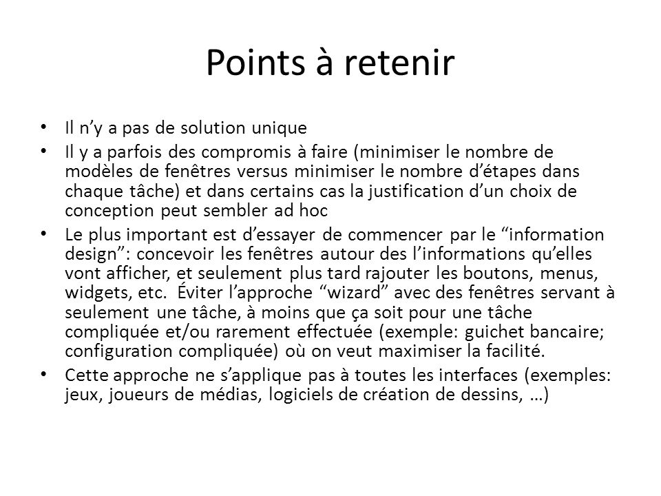 Points à retenir Il n'y a pas de solution unique