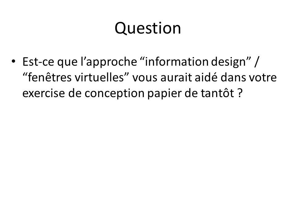 Question Est-ce que l'approche information design / fenêtres virtuelles vous aurait aidé dans votre exercise de conception papier de tantôt