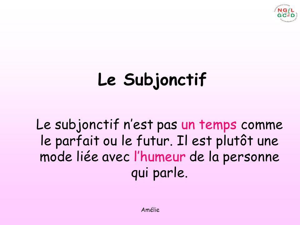 Le Subjonctif Le subjonctif n'est pas un temps comme le parfait ou le futur. Il est plutôt une mode liée avec l'humeur de la personne qui parle.