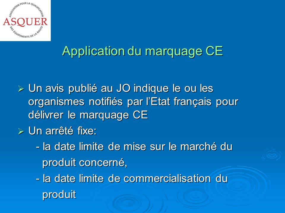Application du marquage CE