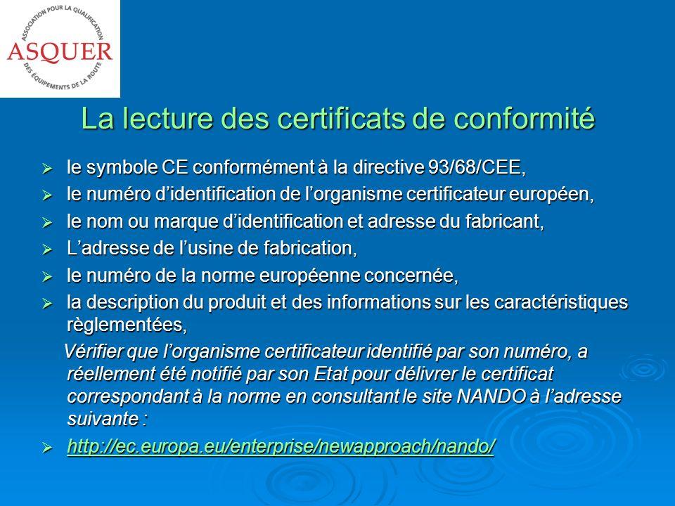 La lecture des certificats de conformité