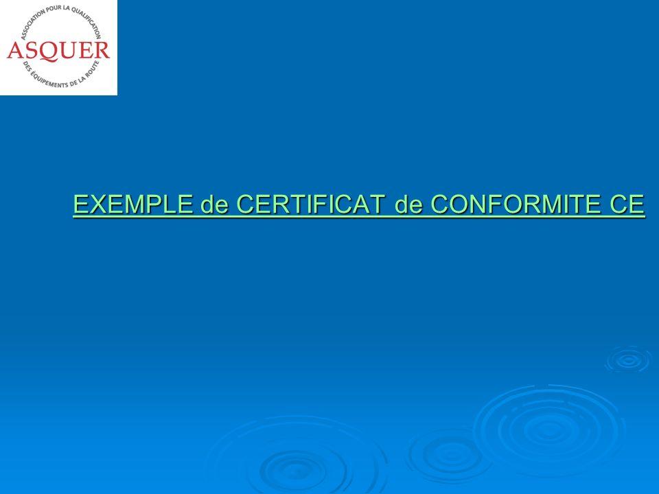 EXEMPLE de CERTIFICAT de CONFORMITE CE