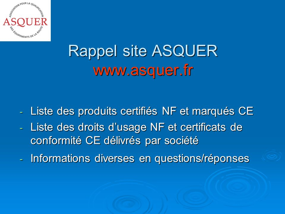 Rappel site ASQUER www.asquer.fr