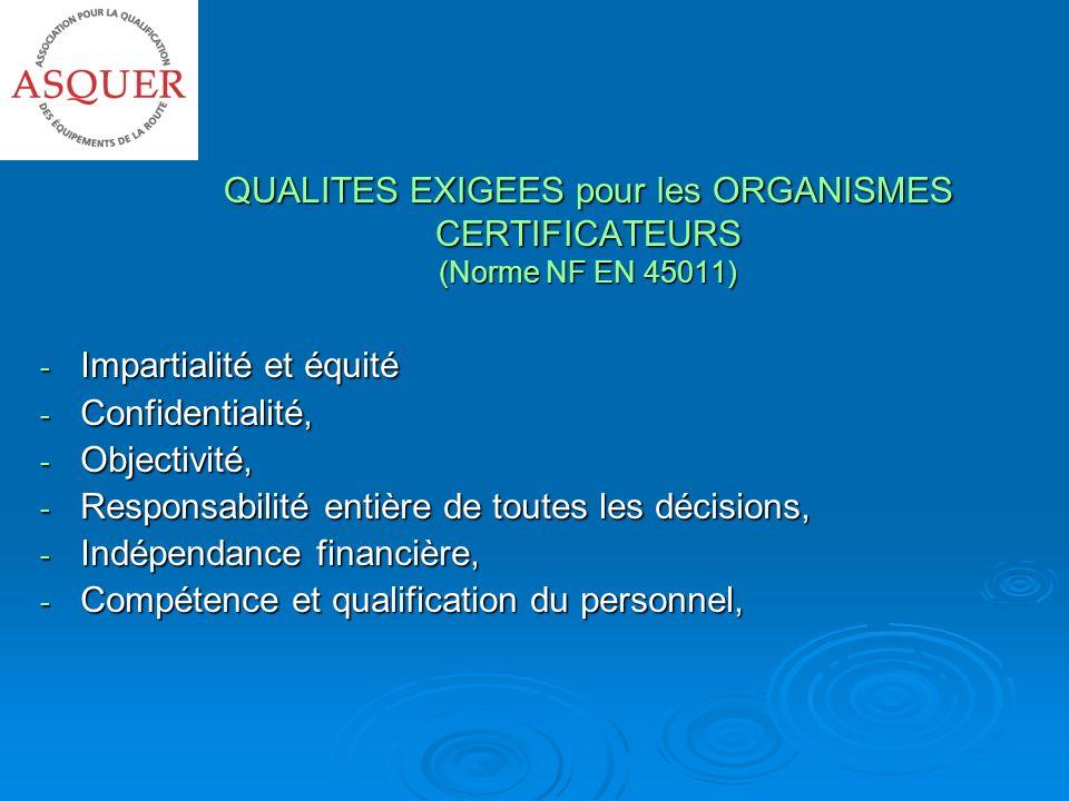 QUALITES EXIGEES pour les ORGANISMES CERTIFICATEURS (Norme NF EN 45011)