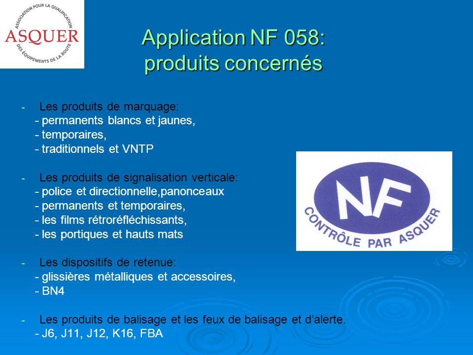 Application NF 058: produits concernés