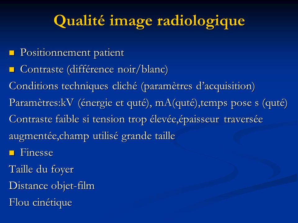 Qualité image radiologique