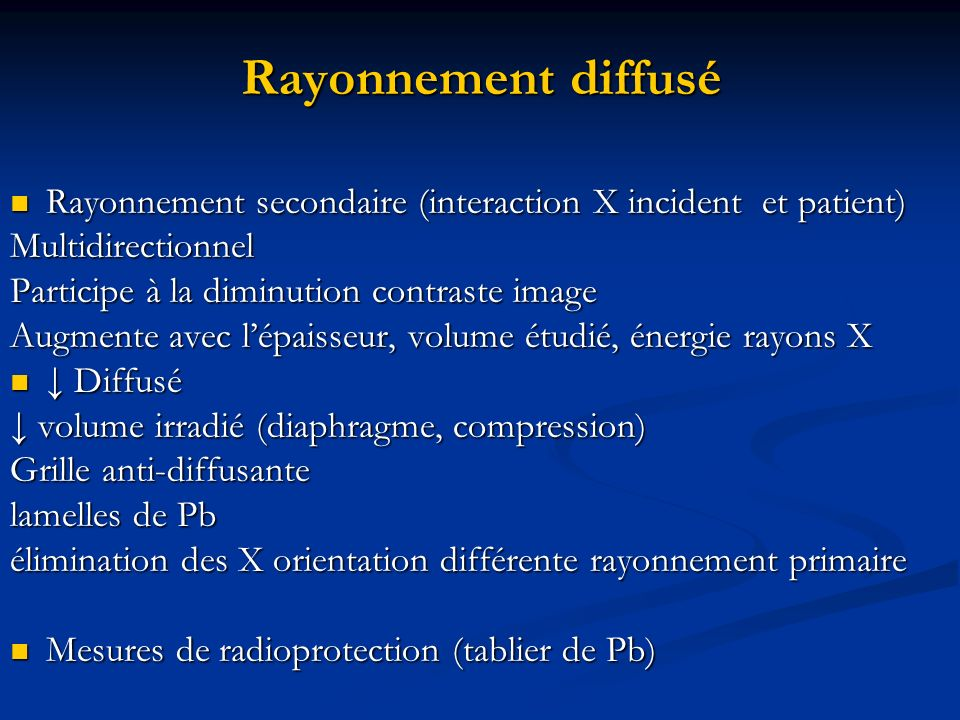 Rayonnement diffusé Rayonnement secondaire (interaction X incident et patient) Multidirectionnel.