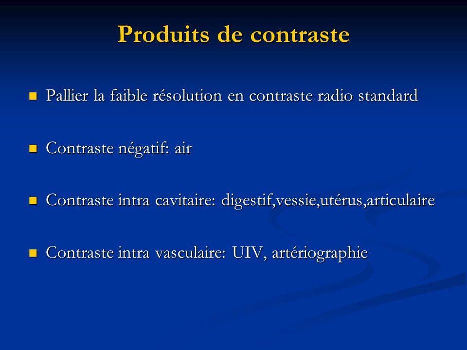 Produits de contraste Pallier la faible résolution en contraste radio standard. Contraste négatif: air.