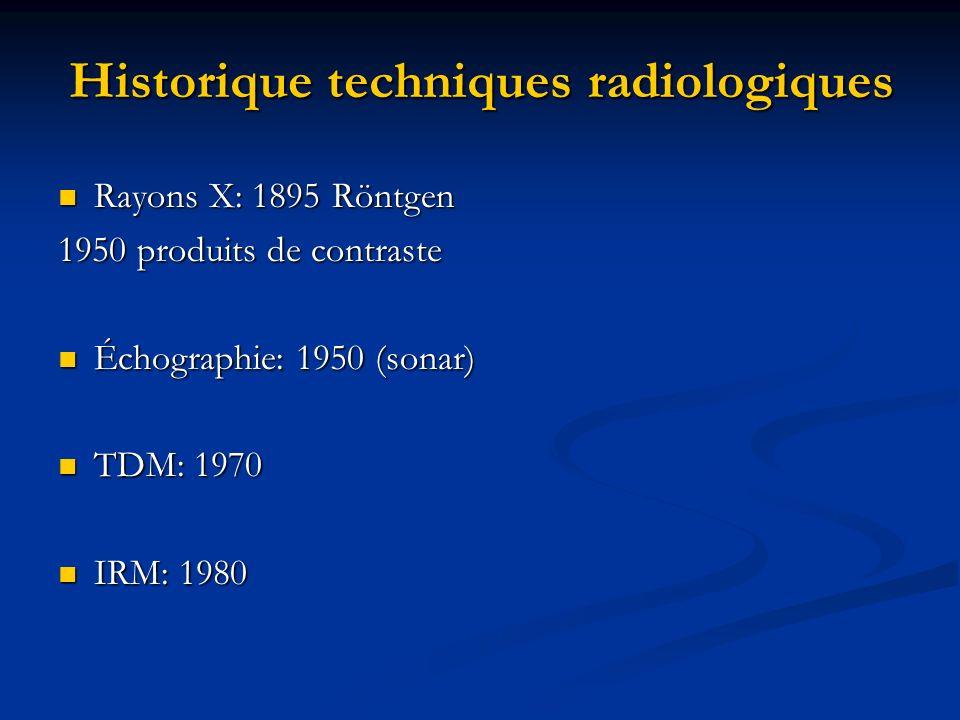 Historique techniques radiologiques